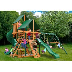 Gorilla Great Skye I Cedar Wood Swing Set Kit  w/ Timber Shield™ & Sunbrella® Canvas Forest Green Canopy  - Amber (01-0030-TS-2)
