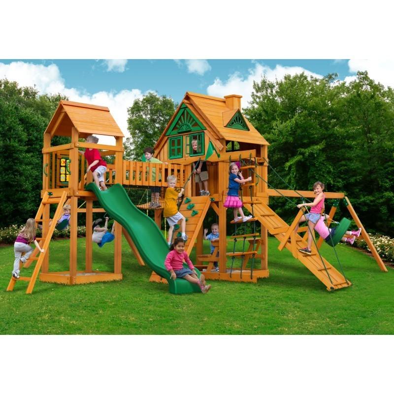Gorilla Pioneer Peak Treehouse Cedar Wood Swing Set Kit w/ Fort Add-On & w/ Amber Posts - Amber (01-0070-AP)