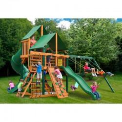 Gorilla Great Skye I Cedar Wood Swing Set Kit w/ Timber Shield™ and Deluxe Green Vinyl Canopy - Amber (01-0030-TS-1)