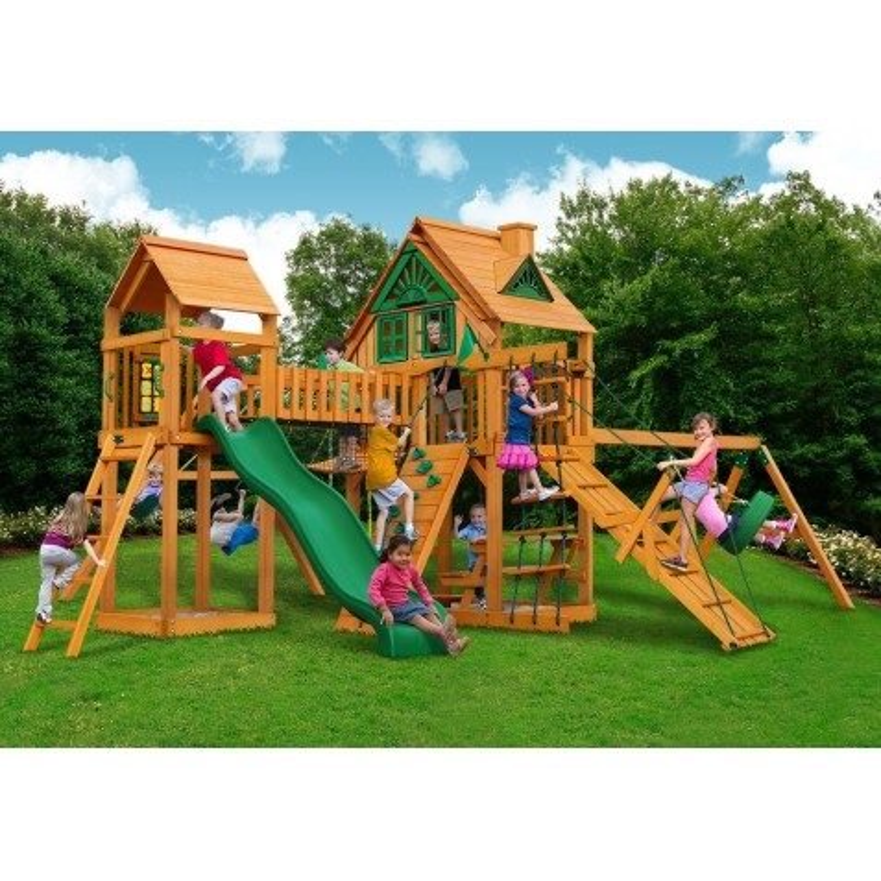 Gorilla Pioneer Peak Treehouse Cedar Wood Swing Set Kit w/ Amber Posts - Amber (01-0055-AP)