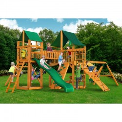 Gorilla Pioneer Peak Cedar Wood Swing Set KIt  w/ Amber Posts and Sunbrella® Canvas Forest Green Canopy - Amber (01-0006-AP-2)
