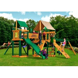 Gorilla Pioneer Peak Cedar Wood Swing Set Kit  w/ Timber Shield™ and Sunbrella® Weston Ginger Canopy  - Amber (01-0006-TS-3)