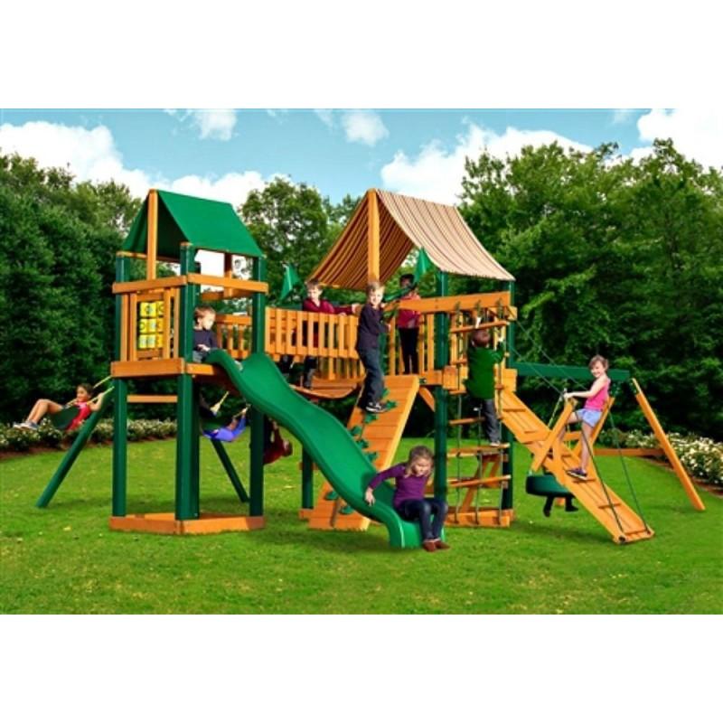 Gorilla Pioneer Peak Cedar Wood Swing Set Kit  w/ Timber Shield™ and Sunbrella® Weston Ginger Canopy  - Amber (01-0006-TS-3)