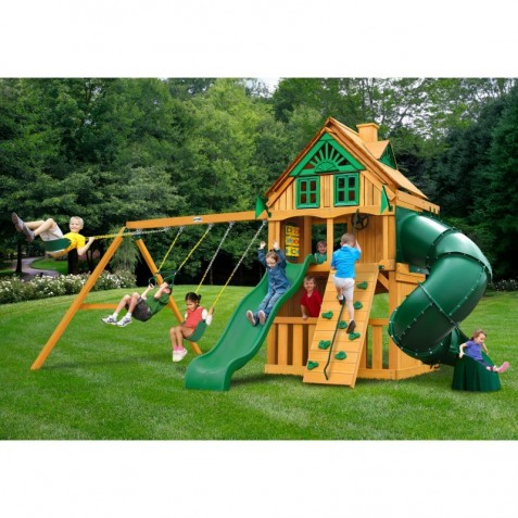 Gorilla Mountaineer Clubhouse Treehouse Cedar Wood Swing Set Kit w/ Fort Add-On & Amber Posts - Amber (01-0069-AP)