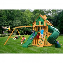 Gorilla Mountaineer Clubhouse Treehouse Cedar Wood Swing Set Kit w/ Amber Posts - Amber (01-0054-AP)