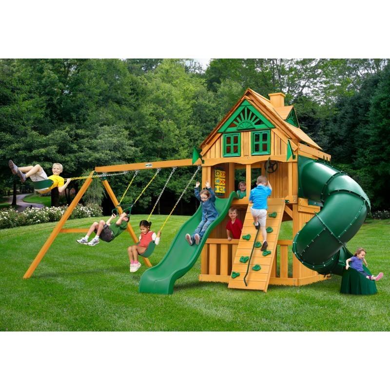 Gorilla Mountaineer Clubhouse Treehouse Cedar Wood Swing Set Kit w/ Amber Posts - Amber (01-0054-AP)