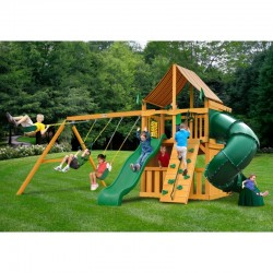 Gorilla Mountaineer Clubhouse Cedar Wood Swing Set Kit w/ Amber Posts and Sunbrella® Weston Ginger Canopy - Amber (01-0033-AP-3
