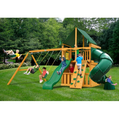 Gorilla Mountaineer Clubhouse Cedar Wood Swing Set Kit w/ Amber Posts and Sunbrella® Forest Green Canopy - Amber (01-0033-AP-2)