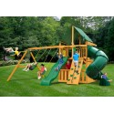 Gorilla Mountaineer Clubhouse Cedar Wood Swing Set Kit  w/ Amber Posts and Deluxe Green Vinyl Canopy - Amber (01-0033-AP-1)