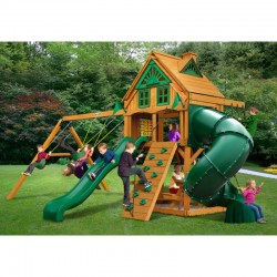 Gorilla Mountaineer Treehouse Cedar Wood Swing Set Kit w/ Fort Add-On & Amber Posts - Amber (01-0068-AP)