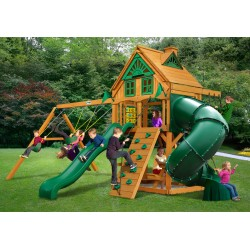 Gorilla Mountaineer Treehouse Cedar Wood Swing Set Kit w/ Amber Posts - Amber (01-0053-AP)