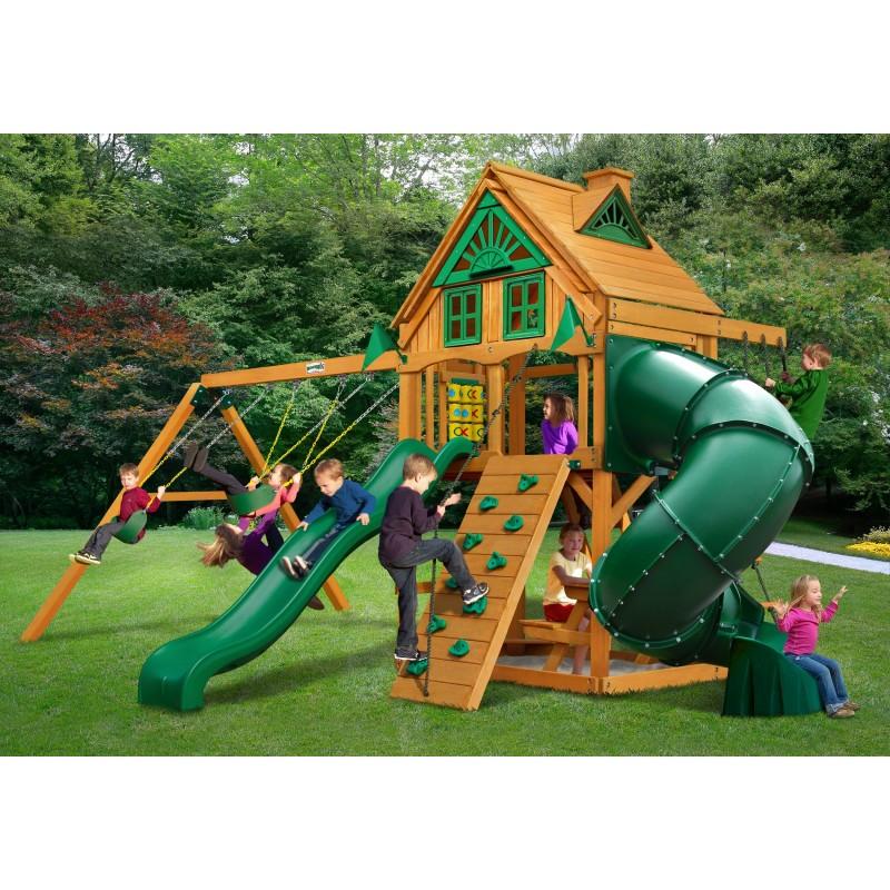 Gorilla Mountaineer Treehouse Cedar Wood Swing Set Kit w/ Amber Posts - Amber (01-0053-AP)