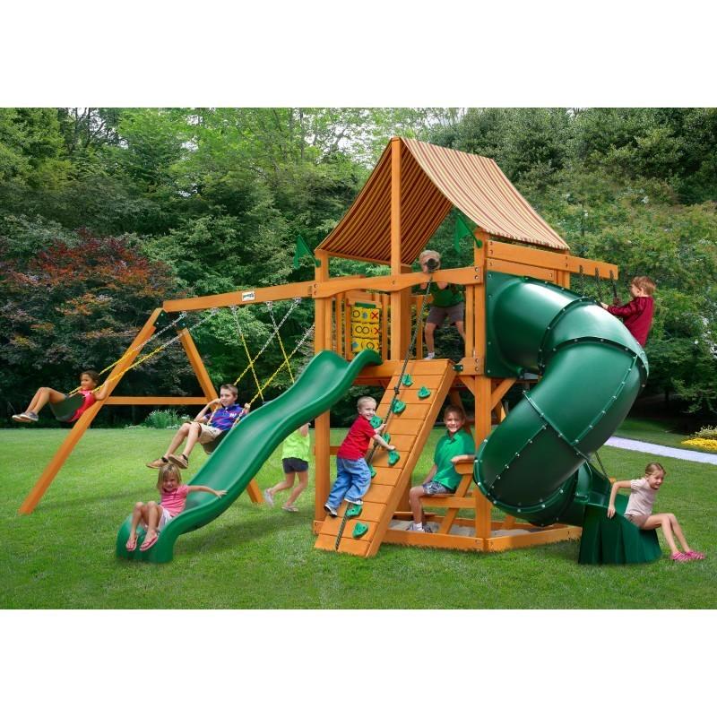 Gorilla Mountaineer Cedar Wood Swing Set Kit w/ Amber Posts and and Sunbrella® Weston Ginger Canopy - Amber (01-0005-AP-3)