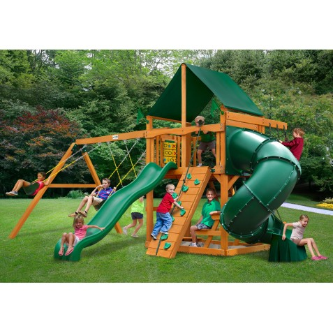 Gorilla Mountaineer Cedar Wood Swing Set Kit w/ Amber Posts and and Sunbrella® Canvas Forest Green Canopy - Amber (01-0005-AP-2