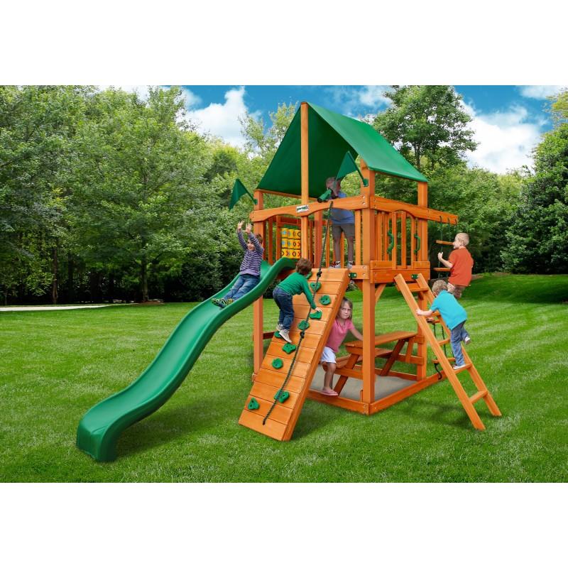 Gorilla Chateau Tower Cedar Wood Swing Set KIt  w/ Amber Posts & Deluxe Green Vinyl Canopy - Amber (01-0061-AP-1)