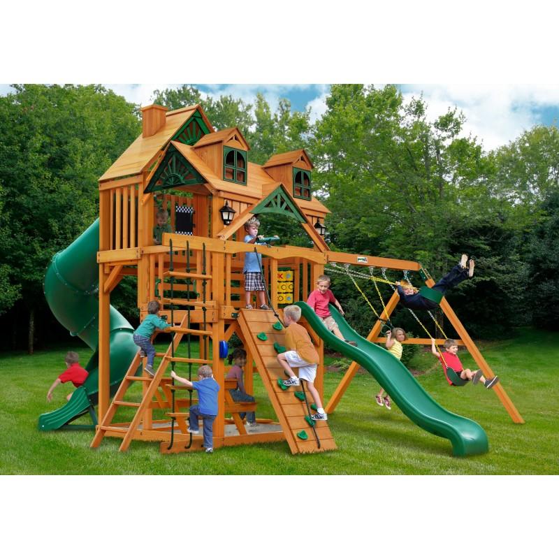 Gorilla Malibu Deluxe I Cedar Wood Swing Set Kit w/ Amber Post - Amber (01-0047-AP)
