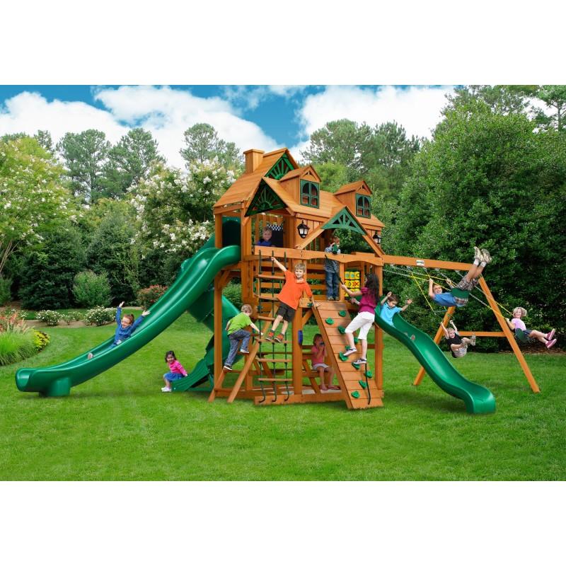 Gorilla Malibu Deluxe II Cedar Wood Swing Set Kit w/ Amber Posts - Amber (01-0048-AP)