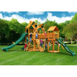 Gorilla Malibu Treasure Trove II Cedar Wood Swing Set Kit w/ Amber Posts - Amber (01-0078-AP)