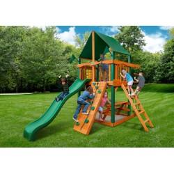 Gorilla Chateau Tower Cedar Wood Swing Set Kit w/ Timber Shield™ & Sunbrella® Canvas Forest Green Canopy - Amber (01-0061-TS-2)