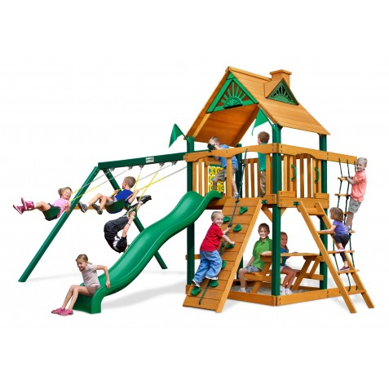 Gorilla Chateau Cedar Wood Swing Set Kit w/ Timber Shield™ and Standard Wood Roof - Amber (01-0003-TS)
