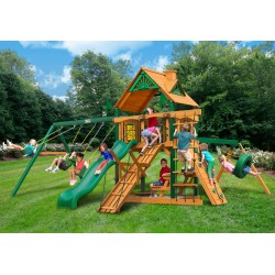 Gorilla Frontier Wood Swing Set Kit w/ Timber Shield™ and Standard Wood Roof - Amber (01-0004-TS)