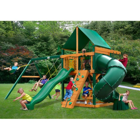 Gorilla Mountaineer Wood Swing Set Kit w/ Timber Shield™ and Deluxe Green Vinyl Canopy - Amber (01-0005-TS-1)