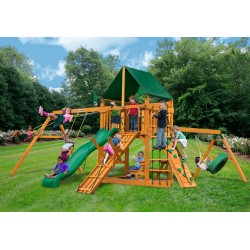 Gorilla Frontier Cedar Wood Swing Set Kit w/ Amber Posts and and Sunbrella Canvas Forest Green Canopy - Amber (01-0004-AP-2)