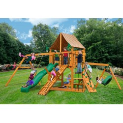 Gorilla Frontier Cedar Wood Swing Set Kit w/ Amber Posts and and Sunbrella® Weston Ginger Canopy - Amber (01-0004-AP-3)