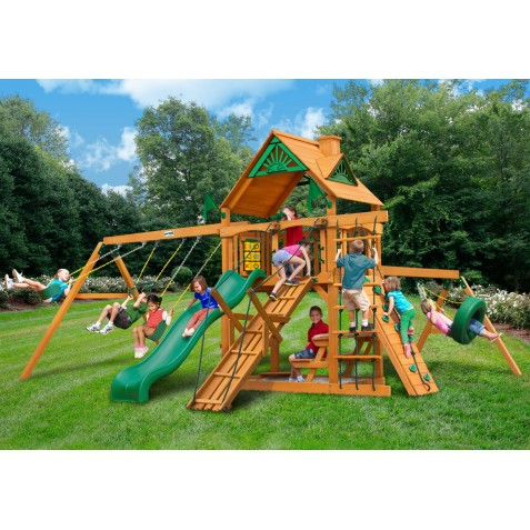 Gorilla Frontier Cedar Wood Swing Set Kit w/ Amber Posts and Standard Wood Roof - Amber (01-0004-AP)