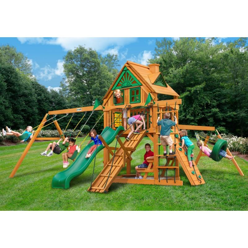 Gorilla Frontier Treehouse Cedar Wood Swing Set Kit w/ Amber Posts - Amber (01-0052-AP)