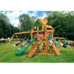 Gorilla Frontier Treehouse Cedar Wood Swing Set Kit w/ Fort Add-On & Amber Posts - Amber (01-0067-AP)