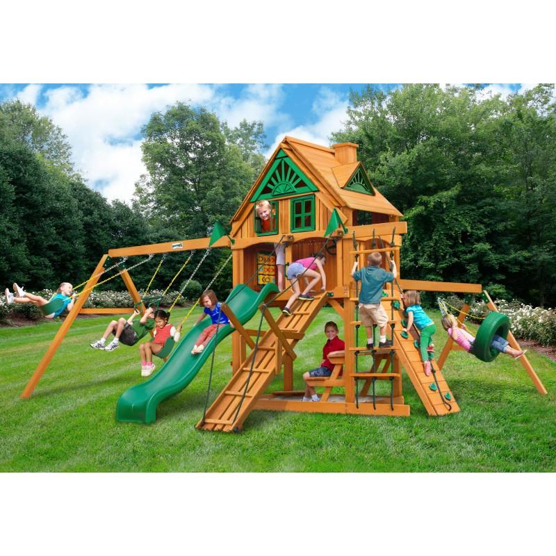 Gorilla Frontier Treehouse Cedar Wood Swing Set Kit w/ Fort Add-On & Amber Posts - Amber (01-0067-AP)
