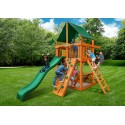 Gorilla Chateau Tower Cedar Wood Swing Set Kit w/ Amber Posts and Sunbrella® Canvas Forest Green Canopy - Amber (01-0061-AP-2)