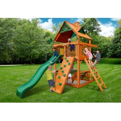 Gorilla Chateau Tower Cedar Wood Swing Set Kit w/ Amber Posts and Standard Wood Roof - Amber (01-0061-AP)