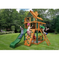 Gorilla Chateau Tower Treehouse Cedar Wood Swing Set Kit w/ Fort Add-On & Amber Posts - Amber (01-0063-AP)
