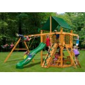 Gorilla Chateau Cedar Wood Swing Set Kit w/ Amber Posts and and Sunbrella® Canvas Forest Green Canopy - Amber (01-0003-AP-2)
