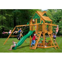 Gorilla Chateau Treehouse Cedar Wood Swing Set Kit w/ Fort Add-On & Amber Posts - Amber (01-0064-AP)