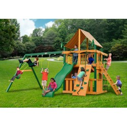 Gorilla Chateau Clubhouse Wood Swing Set Kit w/ Timber Shield™ and Sunbrella® Weston Ginger Canopy - Amber (01-0035-TS-3)