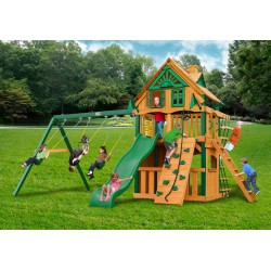 Gorilla Chateau Clubhouse Treehouse Wood Swing Set Kit w/ Timber Shield™ - Amber (01-0051-TS)