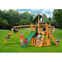 Gorilla Chateau Clubhouse Swing Set w/ Amber Posts and and Sunbrella® Canvas Forest Green Canopy - Amber (01-0035-AP-2)