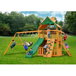Gorilla Chateau Clubhouse Cedar Wood Swing Set KIt w/ Amber Posts and Standard Wood Roof - Amber (01-0035-AP)