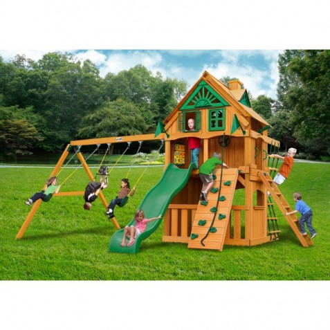 gorilla chateau clubhouse treehouse cedar wood swing set kit w fort add on and natural cedar. Black Bedroom Furniture Sets. Home Design Ideas
