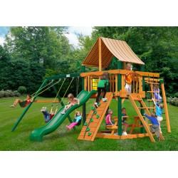 Gorilla Navigator Wood Swing Set Kit w/ Timber Shield™ and Sunbrella®  Weston Ginger Canopy - Amber (01-0020-TS-3)