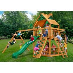 Gorilla Navigator Cedar Wood Swing Set Kit  w/ Amber Posts and Standard Wood Roof - Amber (01-0020-AP