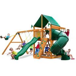 Gorilla Mountaineer Treehouse Cedar Wood Swing Set Kit w/ Fort Add-On & Timber Shield- Amber (01-0068-TS)