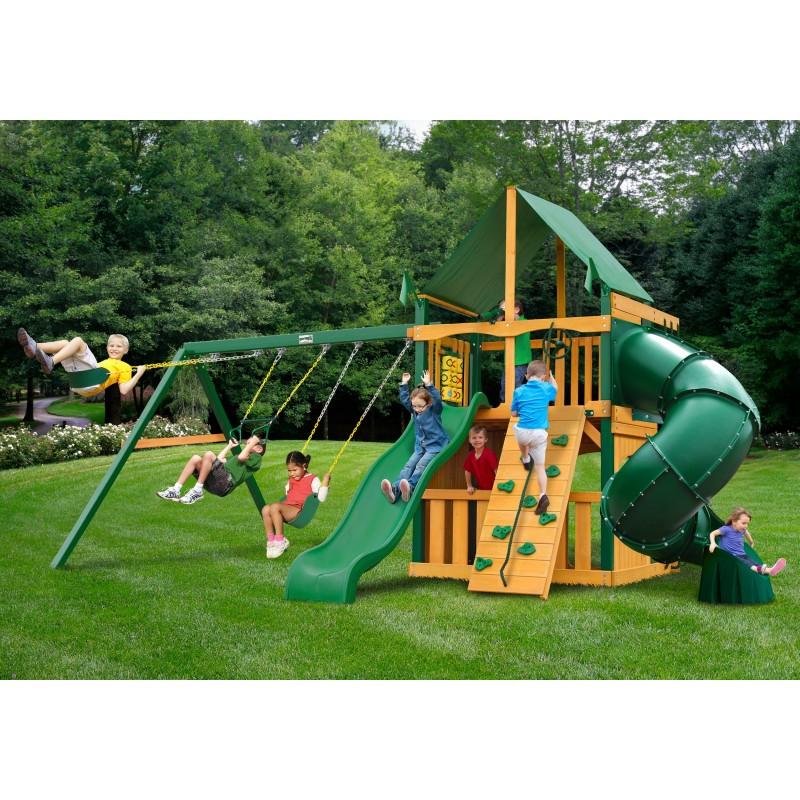 Gorilla Mountaineer Clubhouse Cedar Wood Swing Set Kit w/ Timber Shield & Sunbrella Forest Green Canopy - Amber (01-0033-TS-2)