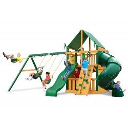 Gorilla Mountaineer Clubhouse Cedar Wood Swing Set Kit  w/ Timber Shield and Sunbrella Ginger Canopy - Amber (01-0033-TS-3)