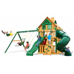 Gorilla Mountaineer Clubhouse Treehouse Cedar Wood Swing Set Kit  w/ Timber Shield - Amber (01-0054-TS)