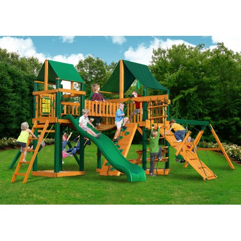 Gorilla Pioneer Peak Cedar Wood Swing Set Kit w/ Timber Shield and Sunbrella Canvas Forest Green Canopy - Amber (01-0006-TS-2)