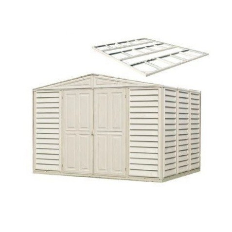 DuraMax 10.5'x10.5' Woodbridge Vinyl Shed w/ Foundation Kit (00484)